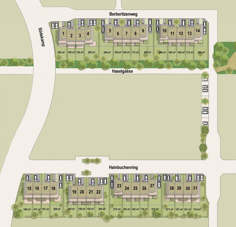 Lageplan eines Neubaugebietes